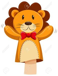 Small_55638283-lion-hand-puppet-with-red-bow-illustration