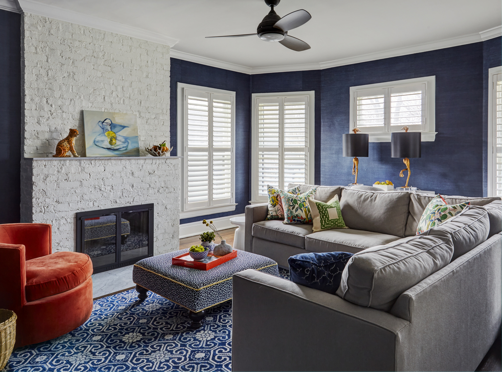 Blue and White TV Room