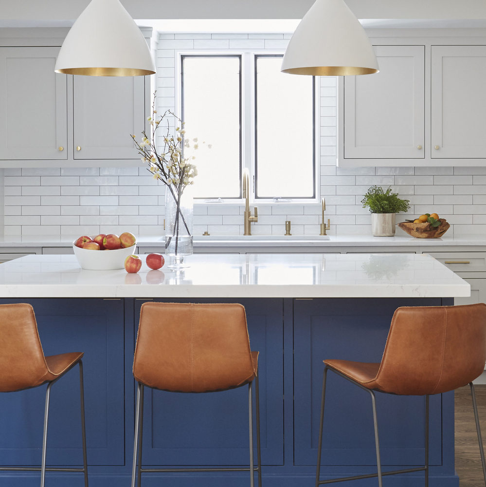 Breezy Blue and White Evanston Kitchen