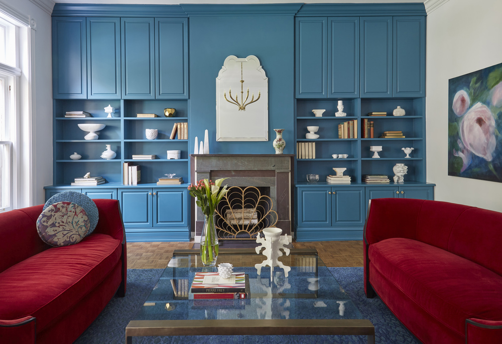 Deco Blue and Red Living Room