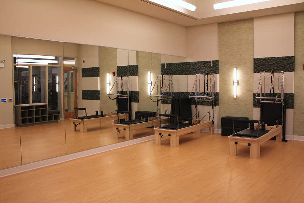Brand new full size pilates studio with pilates reformers.