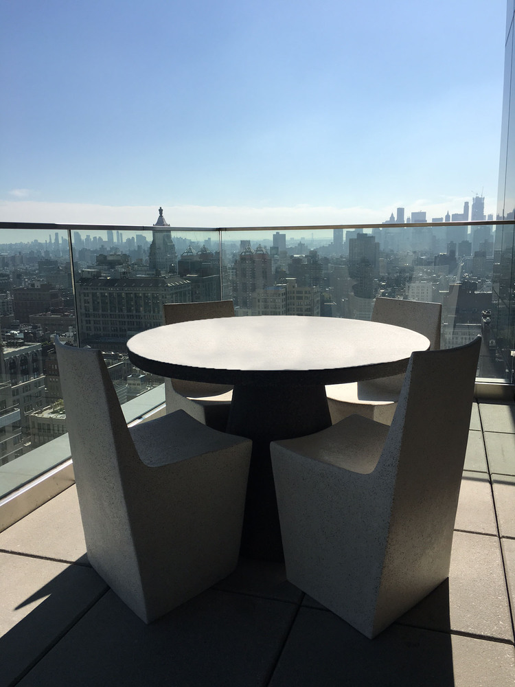 Lightweight Concrete Dining Table, Lightweight concrete dining chair, concrete dining chair, concrete dining table, New York City Balcony,