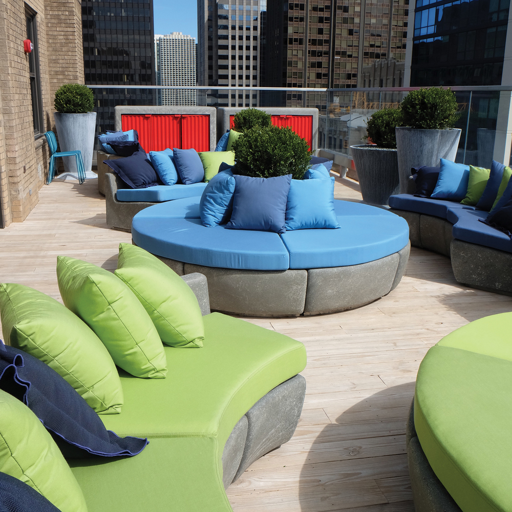 Virgin Hotels Chicago Rooftop Seating/Cabinet