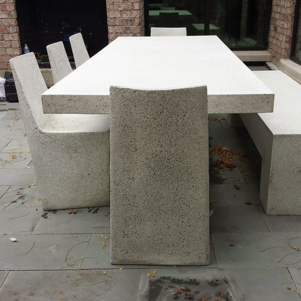 Lightweight concrete chairs, lightweight concrete tables, lightweight concrete furniture, Lightweight concrete rooftop. Concrete furniture for Rooftop